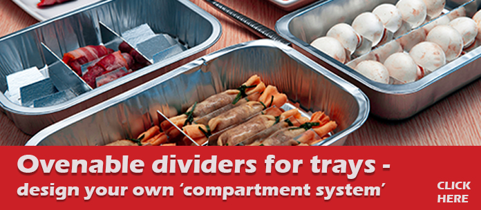 Ovenable dividers for food trays