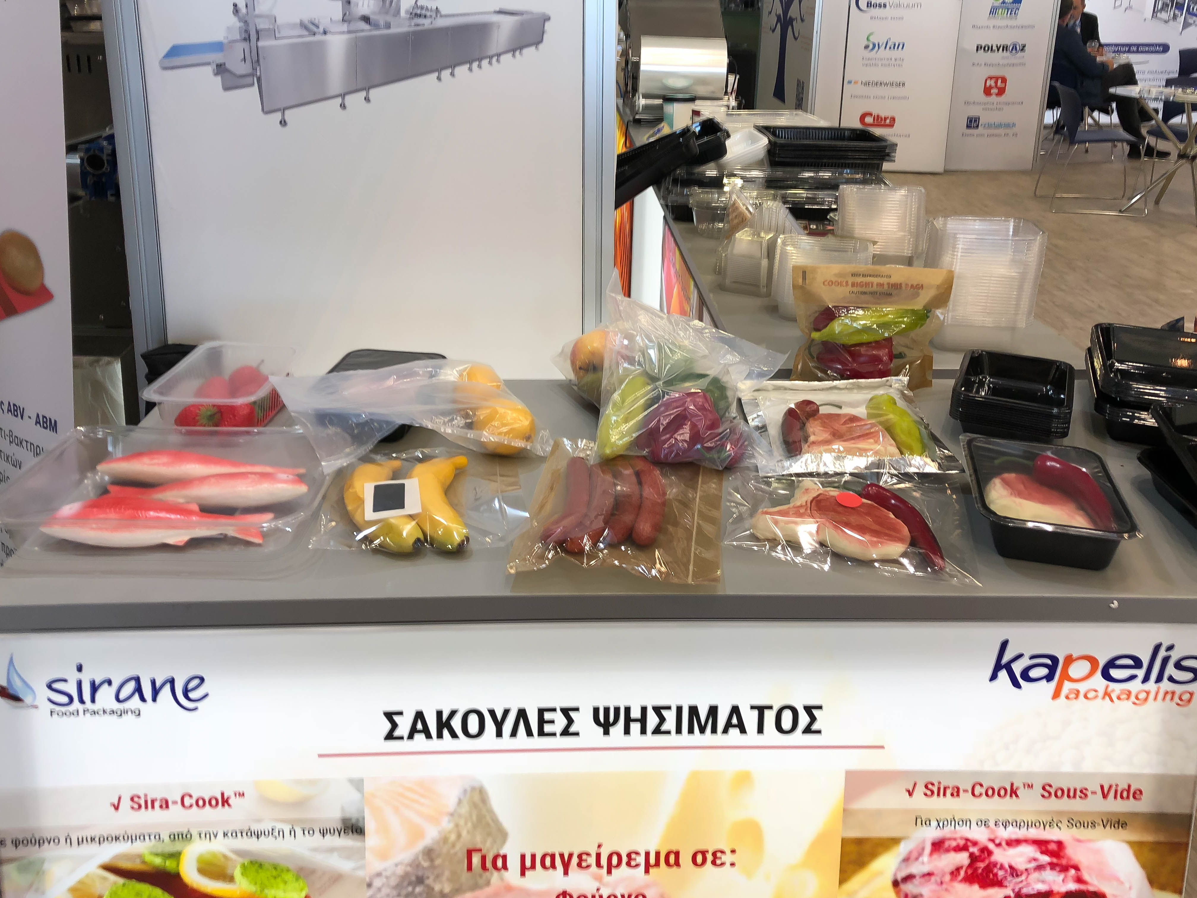 Sirane products on display as part of the Kapelis stand at Food Expo Greece