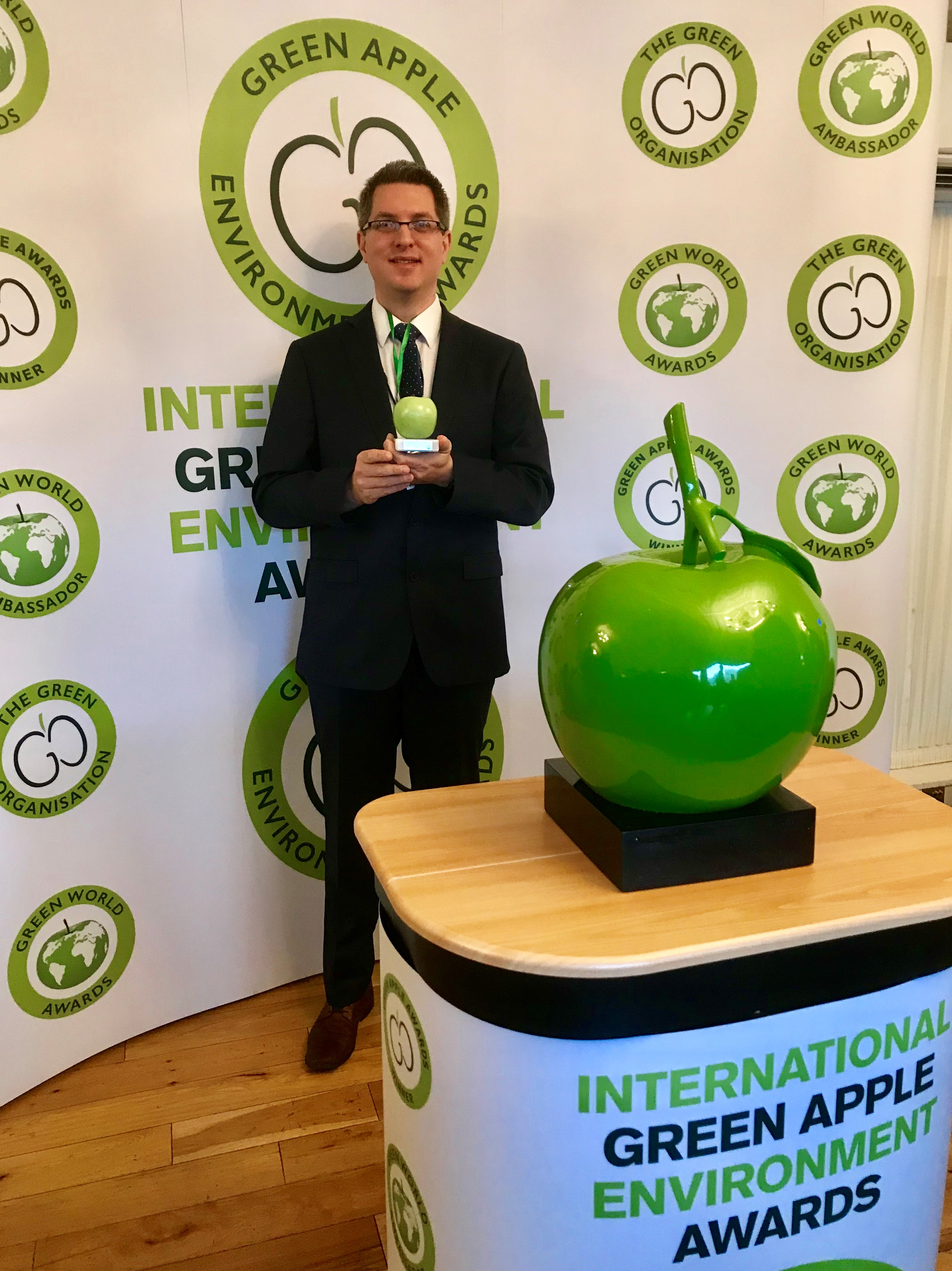 Sirane was presented with a Green Apple Award at the House of Parliament